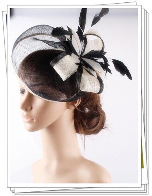 Высокое качество 18 цвет выбрать коктейль шляпы sinamay база с перо цветок чародей аксессуары для волос повод свадебные головные уборы