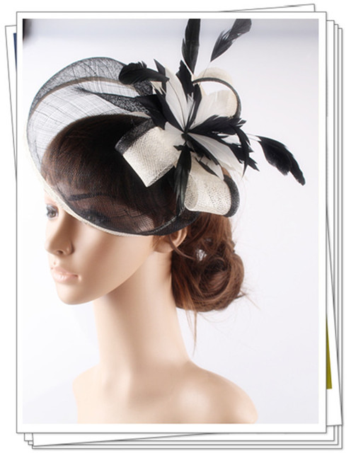 High quality 18 color select cocktail hats sinamay base with feather flower fascinator hair accessories occasion wedding hats