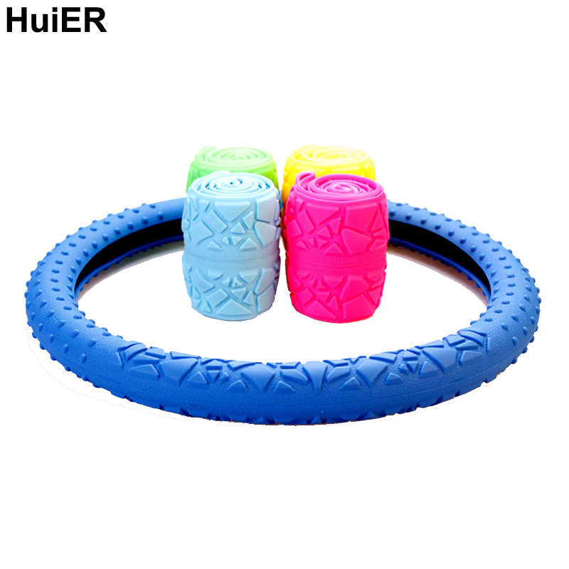 HuiER Geometric Silicone Auto Car Steering Wheel Cover Anti-slip 36-38CM Car Styling Steering-wheel Car-covers Free Shipping dermay car steering wheel cover sport style steering cover soft anti slip for 38cm 15 steering wheel car styling free shipping