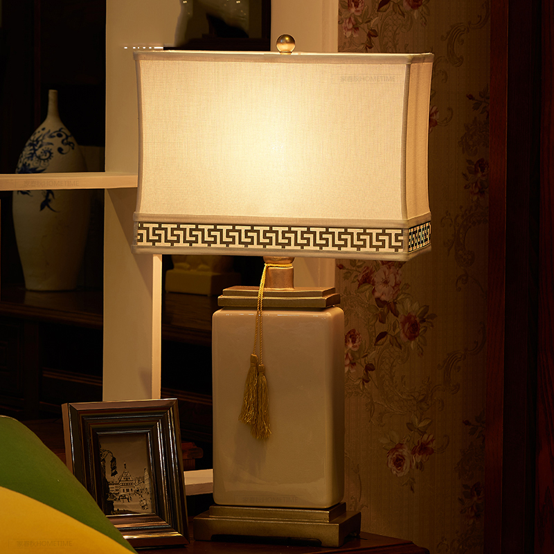Led Table lamp Lustre Square Table Lamps For Living Room Bedroom Light Ceramic Desk Lamp Fabric Lampshade Home Lighting abajour