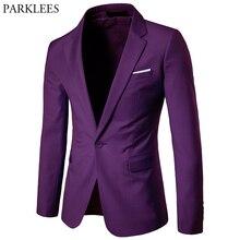 Erkek mor bir düğme Slim Fit takım elbise Blazer 2019 bahar yeni düğün iş smokin Blazer ceket erkekler kostüm Homme mariage 6XL