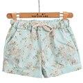 Free Shipping Women Fashion Floral Elastic Waist Drawstring Cotton Shorts For Female Short Pants Woman Casual Plus Size Shorts