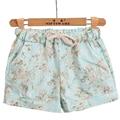 Mujeres libres Del Envío Floral de La Moda Cintura Elástica Con Cordón Pantalones Cortos de Algodón Para Mujer Pantalones Cortos Mujer Ocasional Más Cortocircuitos del Tamaño