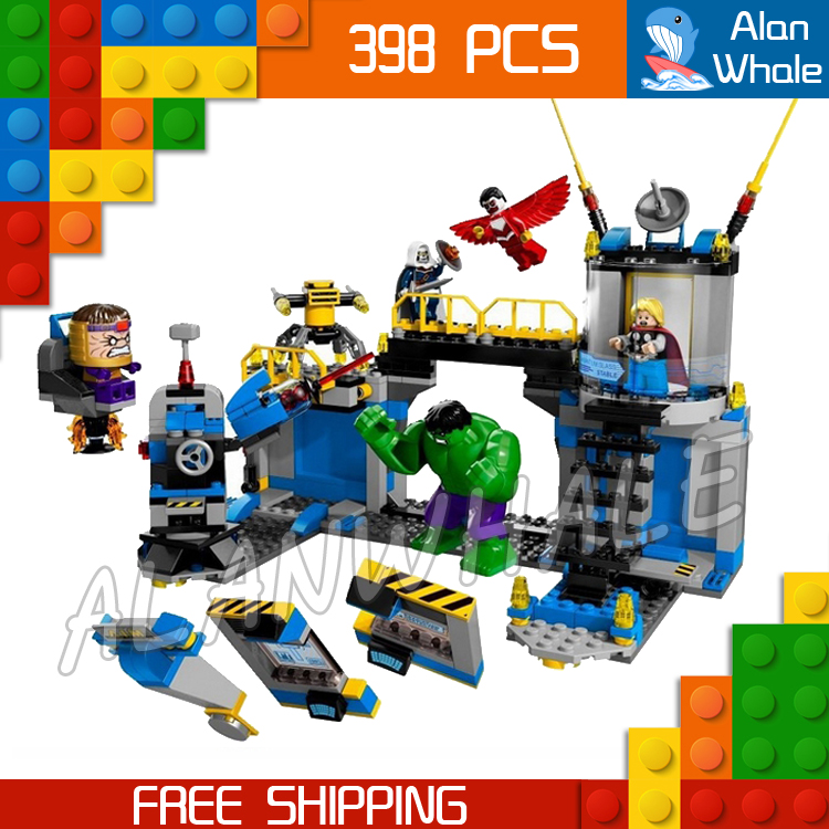 ФОТО 398pcs 2016 Bela 10241 Avengers Incredible Hulk Lab Smash Thor amazing fascinating mysterious Falcon MODOK Compatible with Lego