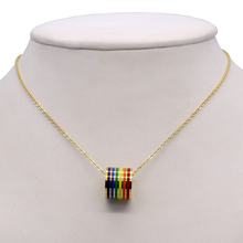 LGBT Rainbow Ring Pendant Necklace Stainless Steel Choker