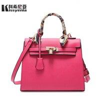 Kissyenia Women Handbags Geniune PU Leather Ribbon Keally Saffiano Scarf Shoulder Bags Women Messenger Bags sac a main KS1029