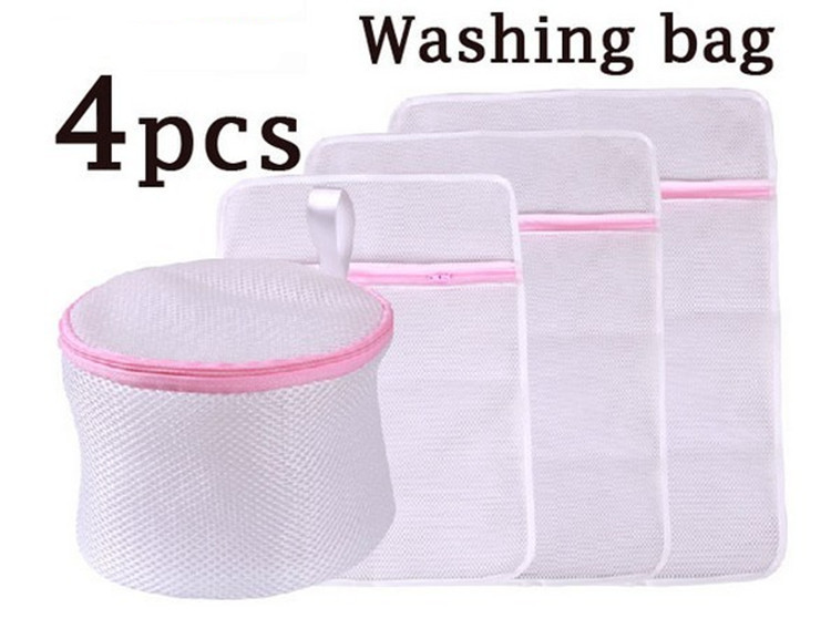 4pcs Laundry Bag Set For Clothes Lingerie Wash Wear Protect Clothes Wear And Tear, Nylon Net Bra Underware Washing Protect Bag