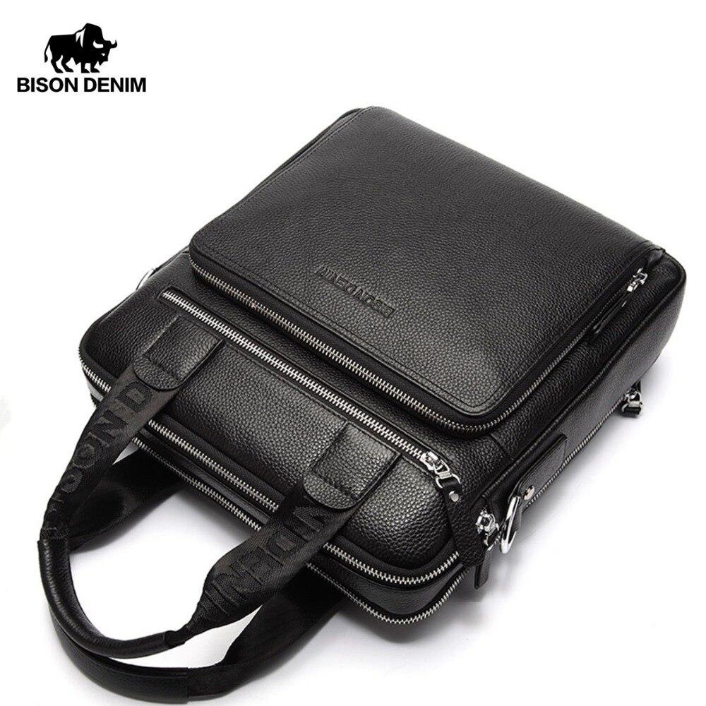 BISON DENIM Echtem Leder Garantieren männer Aktentasche Business Handtasche Hohe Qualität Messenger ipad Laptop Tasche Männer der Tote N2333-2