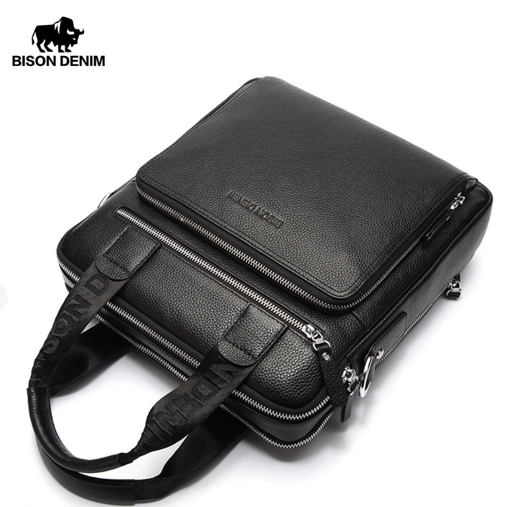 BISON DENIM Garantía de cuero genuino Maletín de los hombres Bolso de negocios de alta calidad Messenger ipad Laptop Bag Tote N2333-2