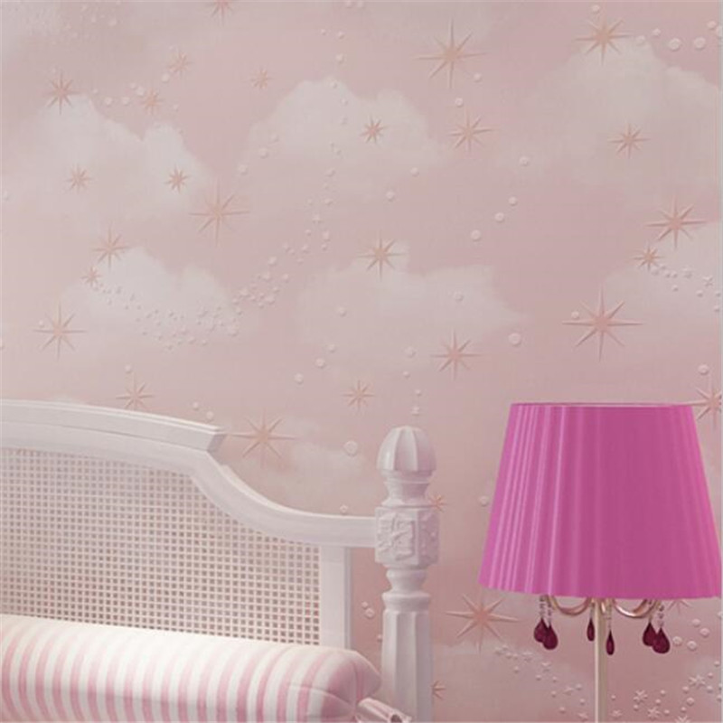Beibehang Deep embossed pink blue sky white clouds stars nonwovens 3D wallpaper children bedroom baby room wallpaper roll