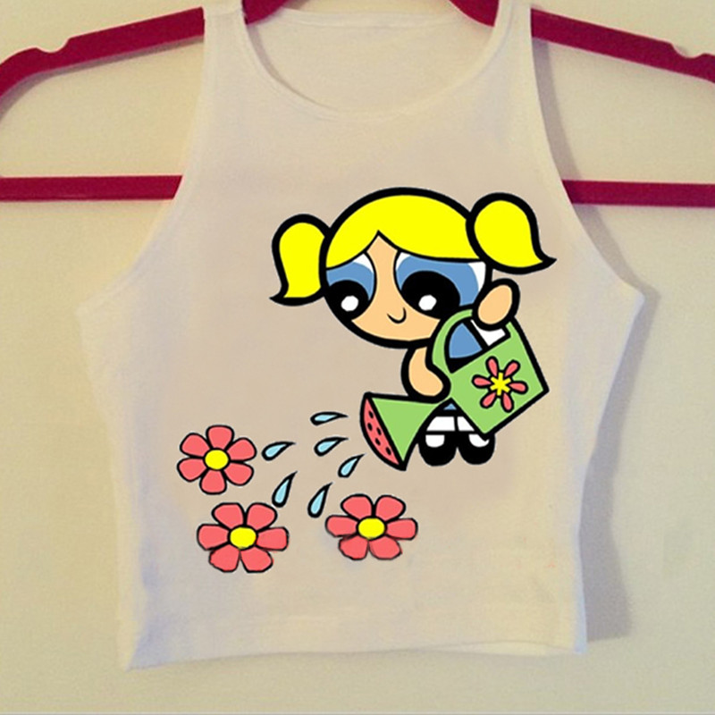F1730 2016 Hot Sale The Powerpuff Girls Summer Style Women   Tank     Top   The Little Girl Water Flower Printed   Tops   For Girls