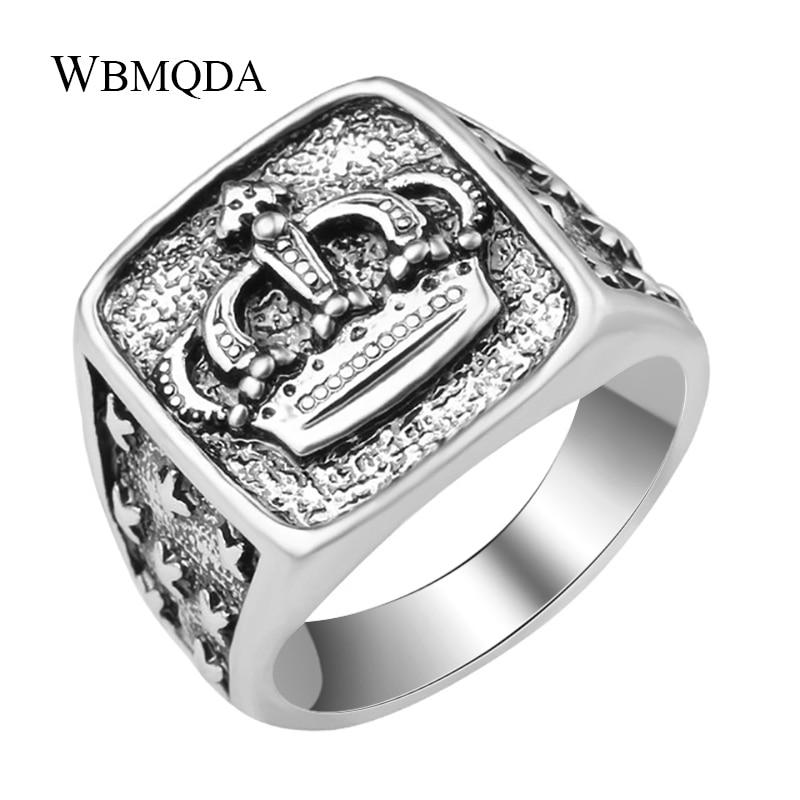 Fashion Hip Hop Star Cross Crown Ring Men Accessories Vintage Punk Rock Big Biker Signet Ring Antique Silver Tibetan Jewelry