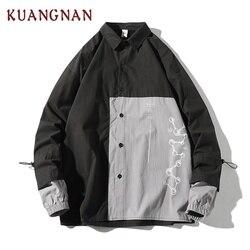KUANGNAN Japan Style Geometric Shirt Men Streetwear Men Shirts Casual Slim Fit Korean Men Shirt Long Sleeve 5XL Clothing 2019 6