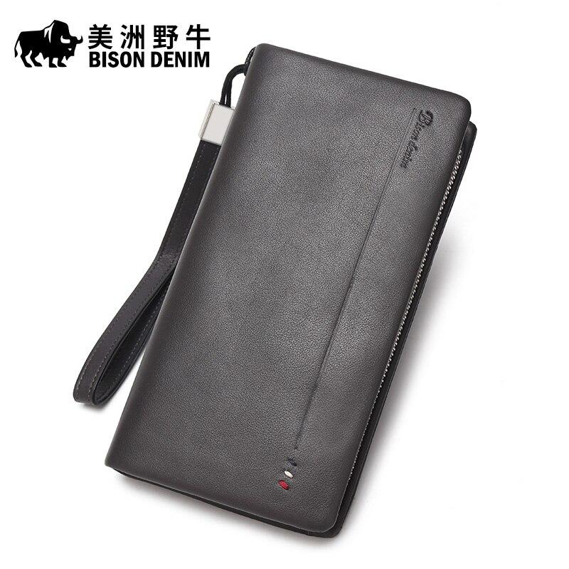ФОТО BISON DENIM Men Genuine Leather Handbag Casual Business Large Capacity Clutch Bag Brand Men's Purse Cowhide Wallet Free Shipping