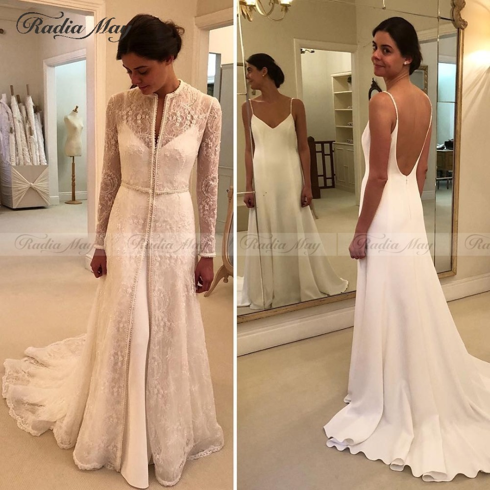 4837b2610b8e3 Vintage Lace Long Sleeves Mermaid Two Pieces Wedding Dress with Detachable  Skirt Coat Beaded Boho Arabic Wedding Dresses 2019-in Wedding Dresses from  ...
