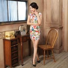 New Multicolor Satin Handmade Button Mandarin Collar Cheongsam Chinese Classic Print Qipao Flower Short Sexy Dress S-XXL LGD102