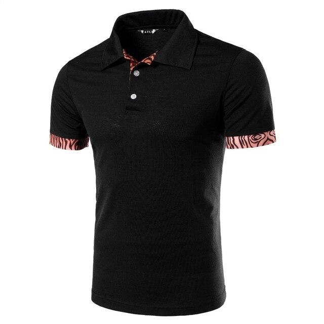 Marca Polo Hombres de la Camisa 2016 Del Leopardo Del Verano de Manga Corta Negro Camisas de Polo de Algodón Casual Brand Polos Slim Fit Polo Homme marca