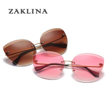Ladies Fashion Brand Designer Rimless Cat Eye Sunglasses UV400 Protection Sun Gl