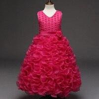 Princess Flower Girl Dress Summer V Neck Tutu Wedding Birthday Party Dresses For Girls Children S