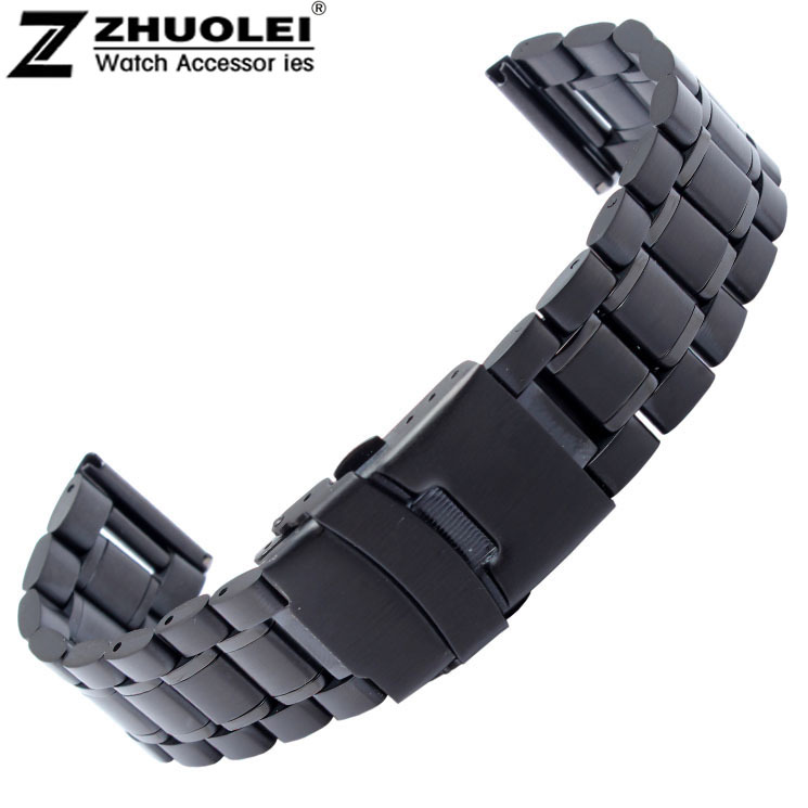 18mm 20mm 22mm 24mm New Mens Black Stainless Steel Solid Links Watch Band Strap Bracelet Straight End Double Flip Lock Clasp watch band 22mm new gold brushed stainless steel bracelet watchbands strap bracelets double flip lock clasp free shipping