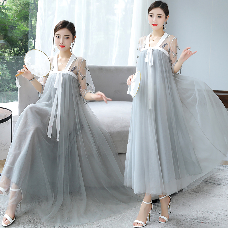 Retro Asian Style Korea Hanbok Gown Ancient Costume Classical Sweet Fairy Hanfu Summer Sexy Dress Women