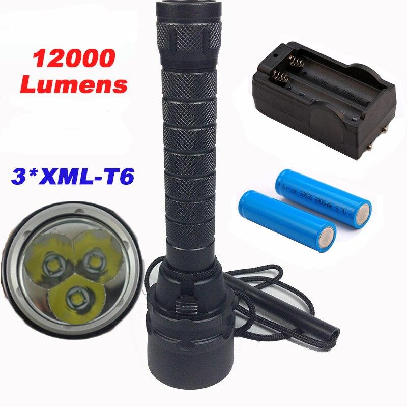12000 lúmenes profesional buceo linterna antorcha 3 xCREE XML-T6 bajo el agua 200 metro buceo linternas impermeable lámpara de luz