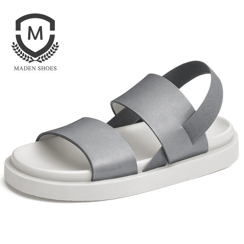 Maden Piel de hombre Sandalias de playa Color sólido Negro Marrón - Zapatos de hombre