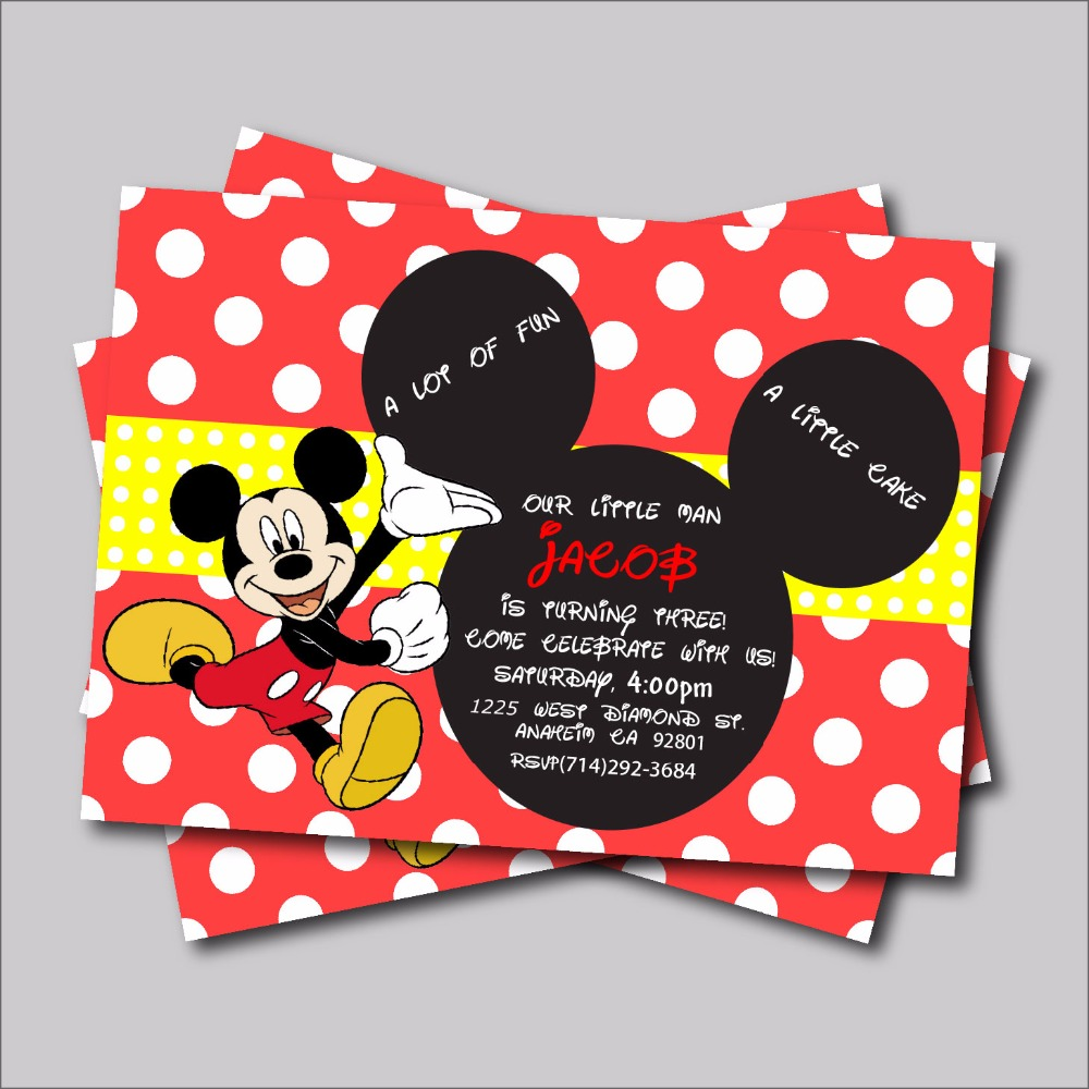 Mickey mouse baby shower invitationshandmade mickey mouse birthday buy 20 pcs mickey mouse birthday invitation for kids mickey minnie baby shower invitations birthday party filmwisefo Image collections
