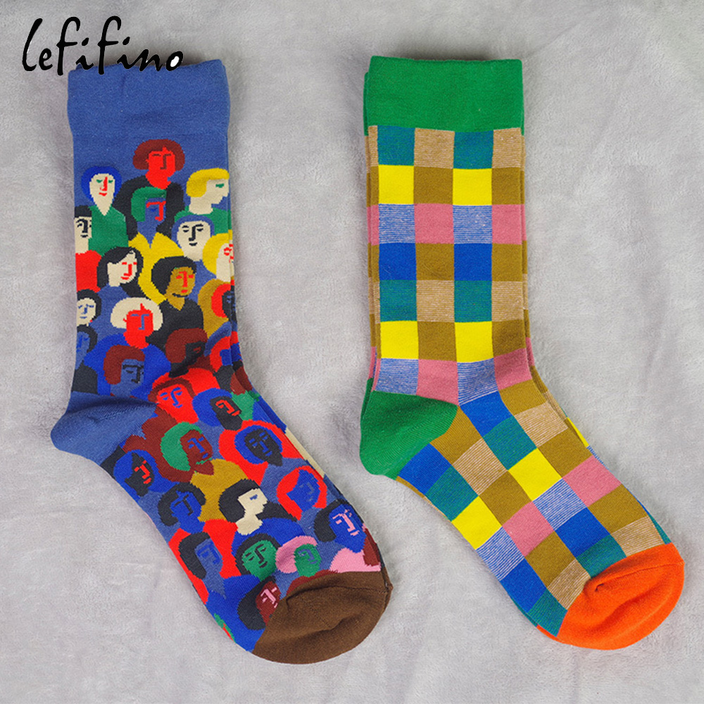 Women Cute Funny Colorful Cotton Socks Character Fun Novelty French Design Checkerboard Happy Funky Socks Cool Men Street Socks