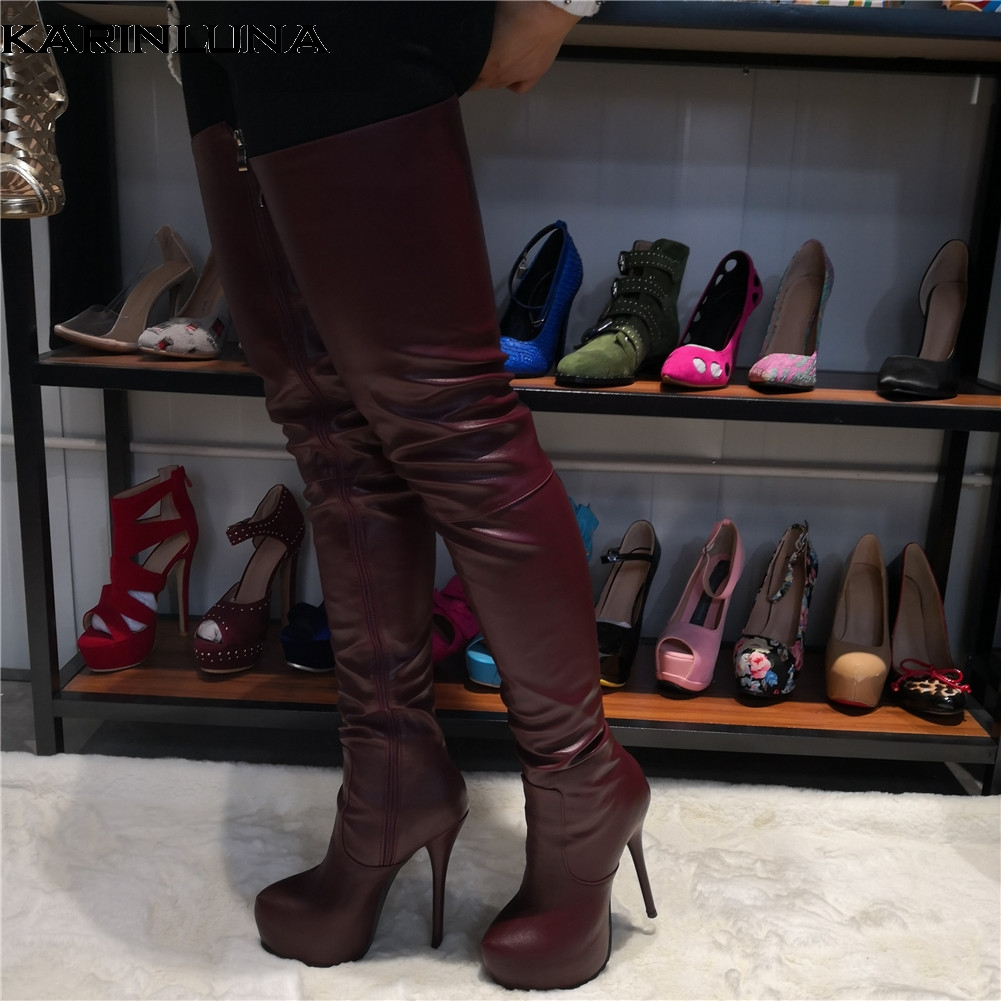 Karinluna Brand Design Big Size 47 Quality Sexy Women Shoes Woman Party Brown Thin High Heeled Over The Knee Boots Long BootsKarinluna Brand Design Big Size 47 Quality Sexy Women Shoes Woman Party Brown Thin High Heeled Over The Knee Boots Long Boots