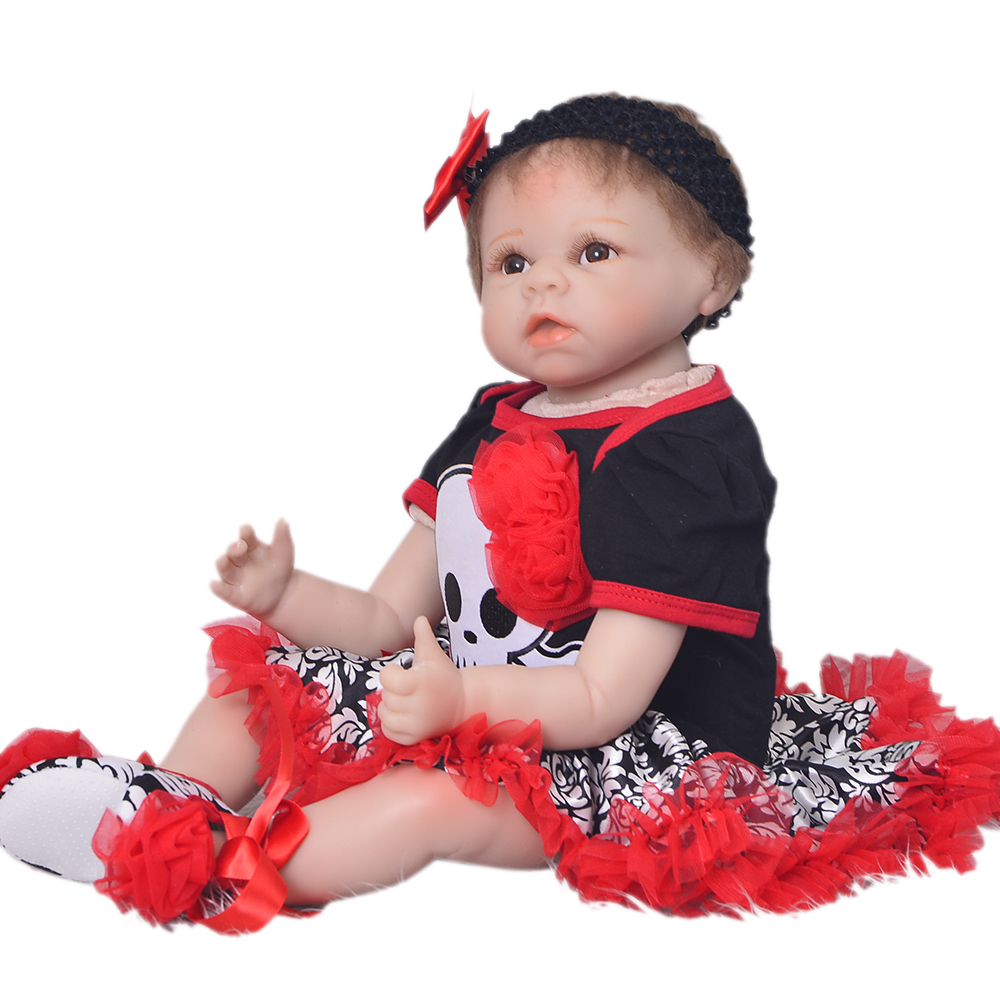 2017 Hot 22'' Christmas Reborn Baby Dolls Toys For Sale Realistic Silicone Vinyl Reborn Boneca Cloth Body Newborn Doll Girl Gift hot sale 12cm foreign chavo genuine peluche plush toys character mini humanoid dolls