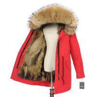Brand 2019 Women Parka Real Fox Fur Coat Winter Jacket Natural Raccoon Fur Trim Hood Long Outwear Detachable Waterproof Luxury