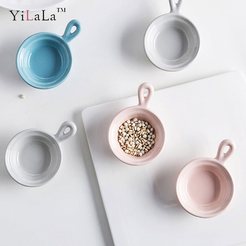 Yilala Sauce Bowl Ceramic Small Dish with Handle Creative Tableware Solid Color Dishes Porcelain Dinnerware for  sc 1 st  AliExpress.com & Yilala Ceramic Souffle Baking Bowl Mini Pudding Bowls Creative ...