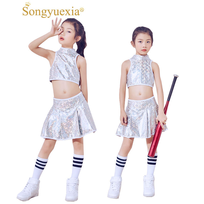Songyuexia Show Clothing Girl Paillette Fission Navel Dance Modern Hip-HOP Modern Dance Cheerleading Performance Costumes