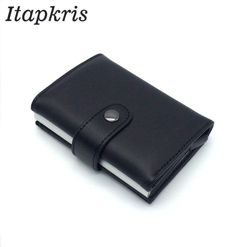 Automatic Credit Card Holder Travel Aluminum Men RFID Wallet Pop Up Blocking Money Case Protection PU Leather Cardholder