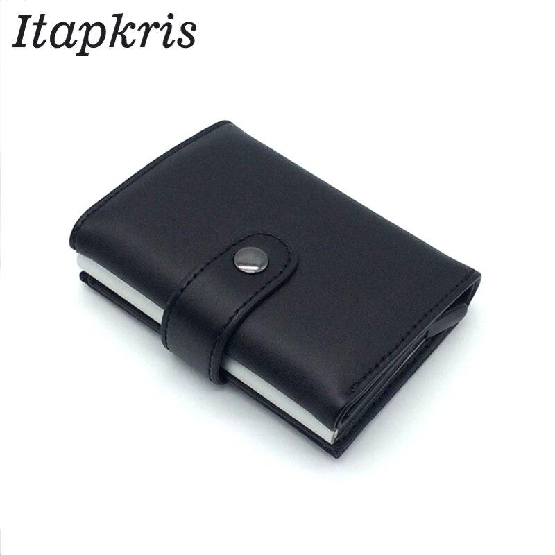 Automatic Credit Card Holder Travel Aluminum Men RFID Wallet Pop Up Blocking Money Case Protection PU Leather Cardholder