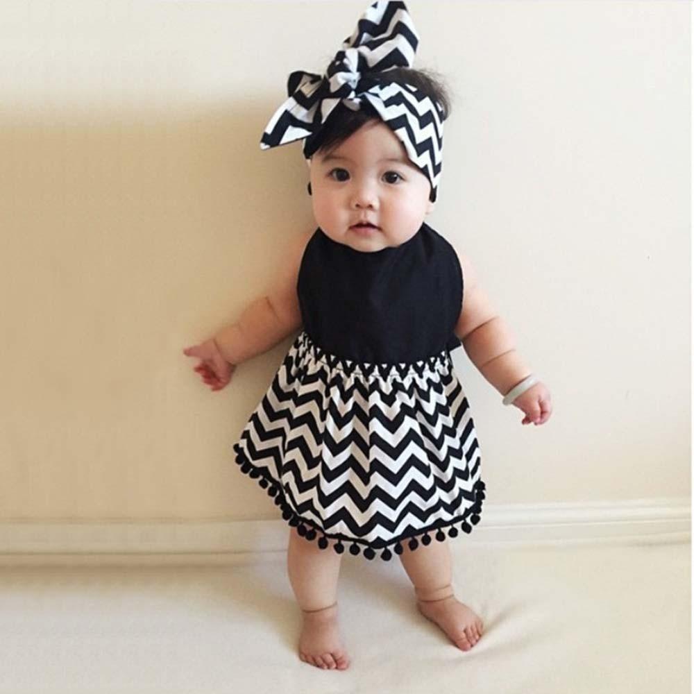 Teloyunt Girls' Clothing Black white Stripe toddler girls ...