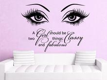 Beauty Eye Wall Decals Make Up Vinyl Stickers Salon Girl Eyes Quote Art Bedroom Decoration adesivo NY-380