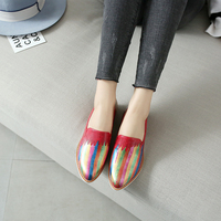 2017 Fashion Top Quality Mix Colors Woman Shoes Luxury Brand Painting Slip On Women Loafers Flats