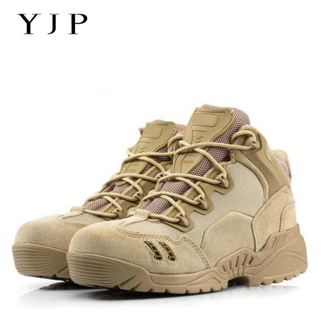 YJP Hombres Militares Botas de Desierto botas de Combate Táctico de La Fuerza Especial de Cuero barcos Zapatos Nieve Botas Nuevas botas de Punta Redonda Lace up Ejército botas