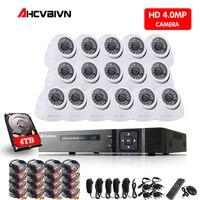4mp CCTV Surveillance Kit 4mp Dome Security Camera System 16 ch DVR 1080P 3K Video Output Kit CCTV Easy Remote View on Phone 4TB