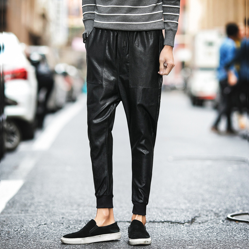 buy 2017 spring drop crotch pant joggers men faux leather casual pants fashion. Black Bedroom Furniture Sets. Home Design Ideas