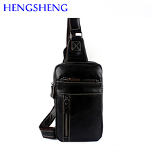 Hengsheng promotion genuine chest bag of small genuine leather men shoulder bags and cow leather men chest packs