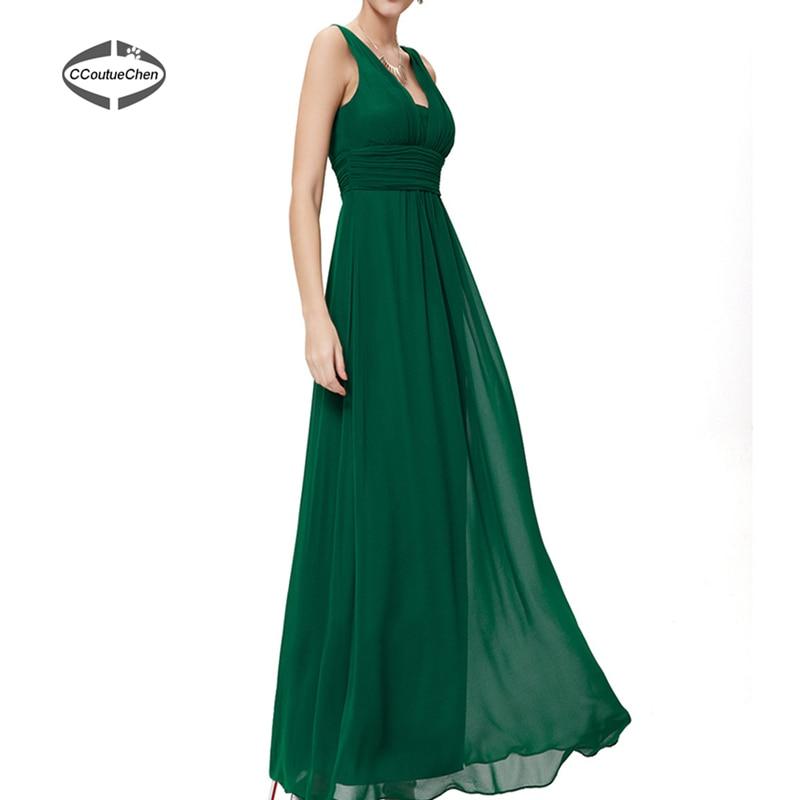 Wedding Gown Bra: V Neck Sleeveless Ankle Length Bridesmaid Dresses Long