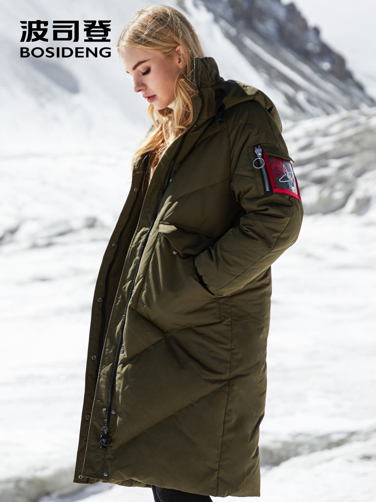 BOSIDENG Rose Collection 2018 winter down coat women down parka X Long loose hooded thicken outwear