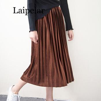Laipelar Spring Summer Fashion Skirt High Waist Velvet Pleated Women Solid Elastic Female