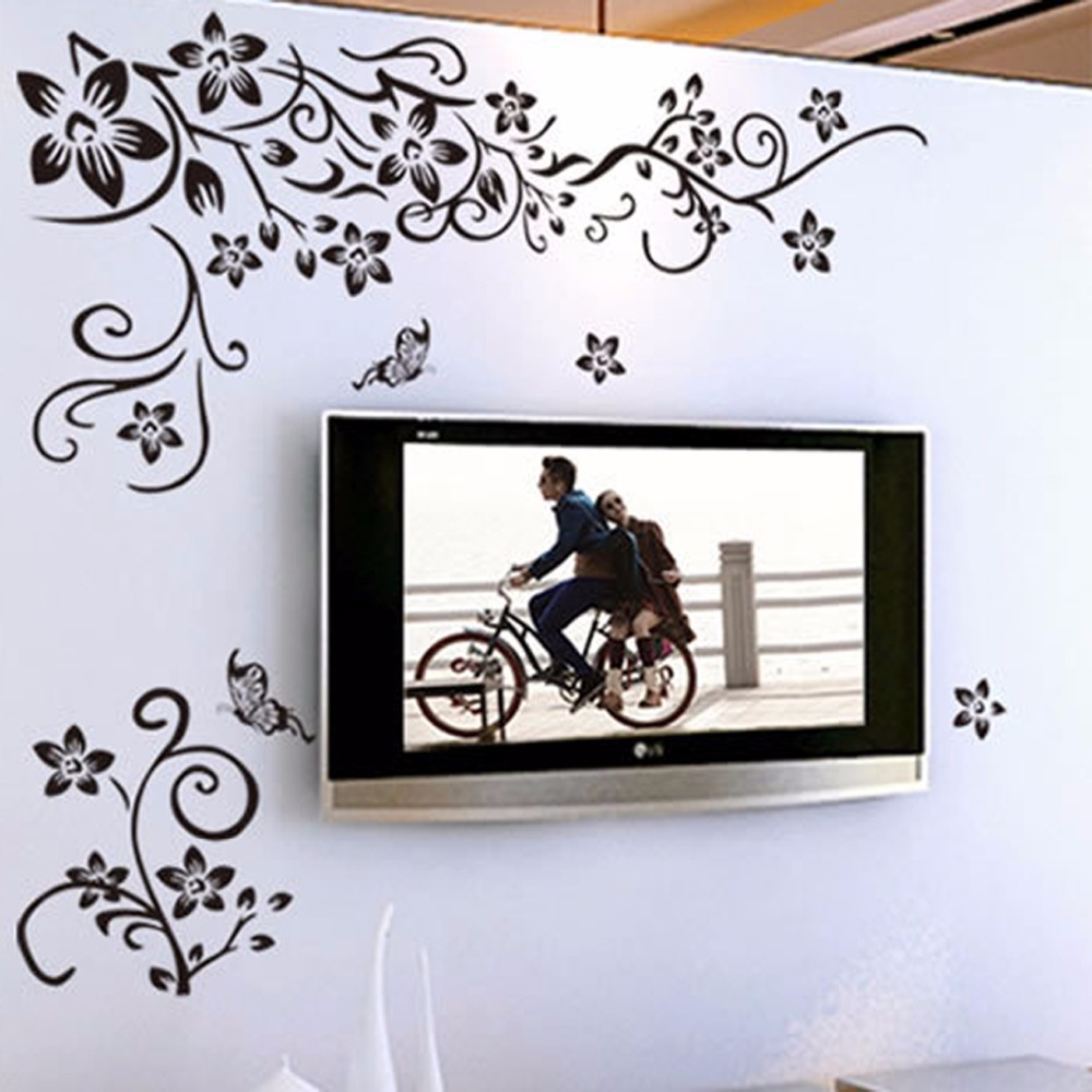 Hot diy wall art decal decoration fashion romantic flower for How to make decorative wall hangings at home