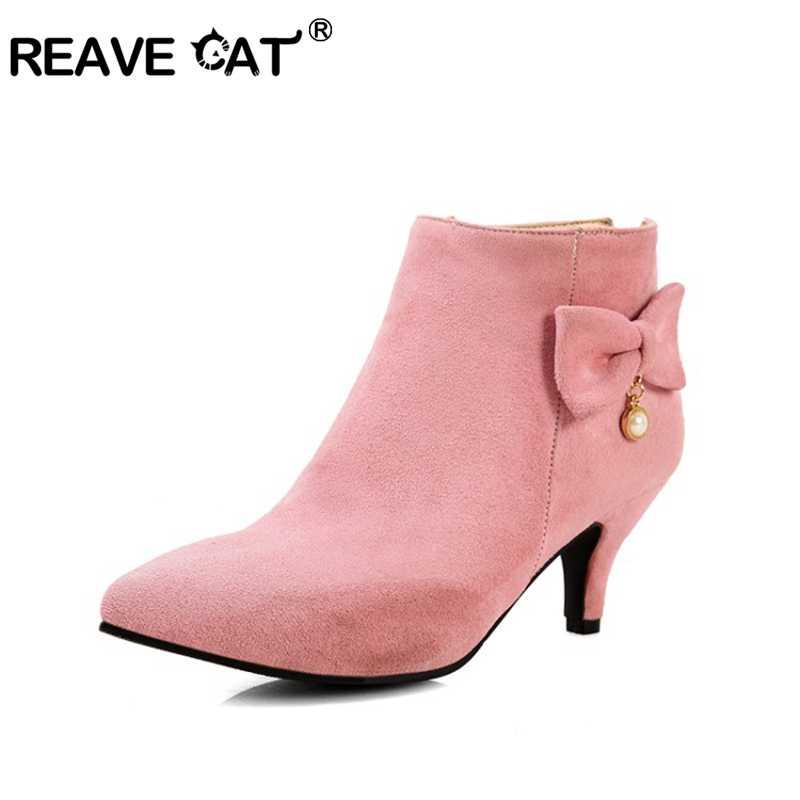 REAVE KEDI Akın katı zip yüksek topuklu çizmeler kadın ayakkabısı kadın yarım çizmeler bahar sonbahar parti zarif büyük boy 34- 46 A863