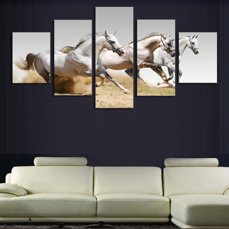Five pieces horses paintings HD high quality wall painting for office and  study room decorative pictures