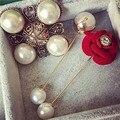 Nova chegada de moda elegante Rosa Vermelha broche de pérolas jóias mulheres simples do vintage broche de metal pinos prom vestido de noiva acessórios